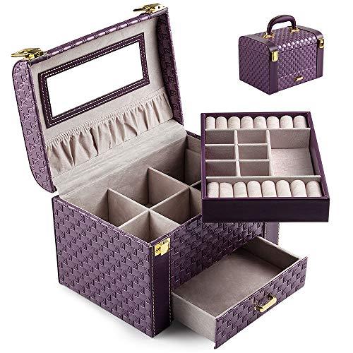 Schmuckkästchen Schmuckkasten Schmuckbox Schmuckschrank Schmuckkiste Schmucklade mit 2-Ebenen PU-Leder Abschließbarer Schmuck-Organizer mit Spiegel herausnehmbare Reise-Box für Ringe (Lila-T01)