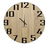 levandeo Wanduhr 60cm rund Holz Markenuhr Moderne Ziffern Sonoma Eiche Made in Germany