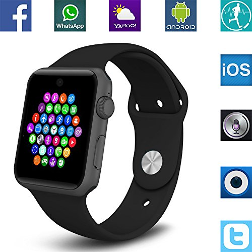 Banaus® BS19 Newest MTK2502 Smart Watch with Bluetooth 4.0 Support SIM Watch Phone for Android Samsung Galaxy S3/S4/S5/Note2/Note3/Note4 HTC Sony LG Xiaomi Huawei ZUK and iPhone 5/5C/5S/6/6S Black