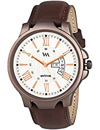 Watch Me Day And Date Analog White Dial Brown Leather Strap Quartz Watch For Men And Boys DDWM-021bys