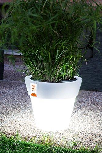 PURLINE Blanc rond Pot de fleurs avec système d'auto-arrosage 40 x 35 cm lumière et roues ST L 40 NE