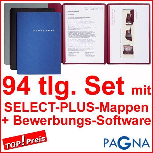 30 dreiteilige Bewerbungsmappen SCHWARZ + 30 DIN B4 Versandtaschen + 30 Adressetiketten + Etikettenvorlage + Bewerbungssoftware + Extras