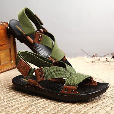 Slingback Sandálias Homens Conforto De Verão Salto Plana Ocasional Ao Ar Livre Tecido Verde Sapatos De Água Preta Us8 / Uk7 Eu40 Cn41