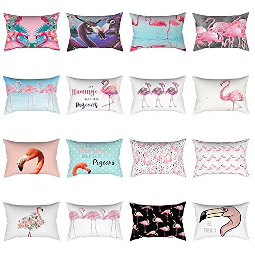 Bluelans® Cushion Cover Pink Flamingo Printed Linen Decorative Pillow Case 30cm x 50cm (12inx20in) (#10)