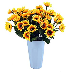 Eazeehome 7 pcs Flores Artificiales Girasoles Gerbera Flores de la Boda Decoración del Hogar