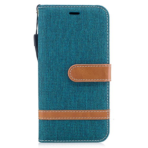 Coque iPhone X, Voguecase Coque de Protection en PU Cuir Support Flip Housse Étui Cover Case avec Porte-Cartes pour Apple iPhone X (2017) (toile de jean-vert foncé) + Gratuit Stylet à Aléatoire toile de jean-vert foncé