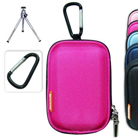 BDC0104evaG6 New first2savvv semi-hard pink camera case for Fujifilm finepix F100 fd + camera tripod