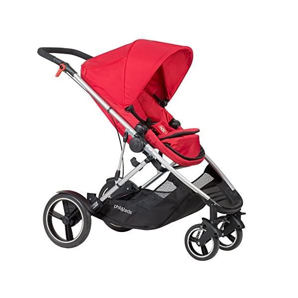 "phil&teds Voyager Buggy Pushchair, Red phil&teds 4-in-1 modular seat Modes include parent facing, forward facing, lie flat & lie flat off the buggy 12"" aeromax puncture free wheels 2"