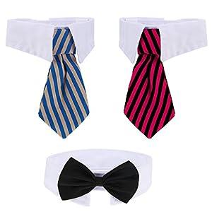 Shappy 3 Pièces Cravate Animaux Chien Cravate de Chat Ajustable Collier Cravate pour Animaux de Compagnie pour Petits Chiens Accessoires de Toilettage de Chiot