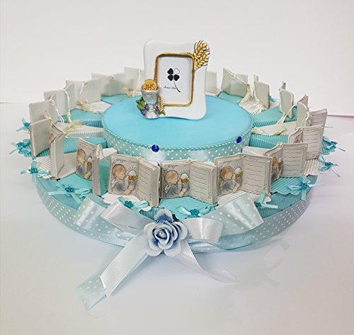 Torta bomboniere prima comunione bimbo con libricino aperto completa di bigliettino (20 fette un piano )