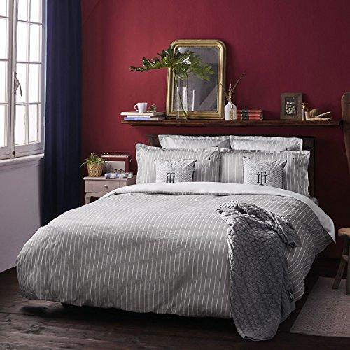 Satin Bettwäsche gestreift Grey 1 Bettbezug 155 x 220 cm + 1 Kissenbezug 80 x 80 cm ()
