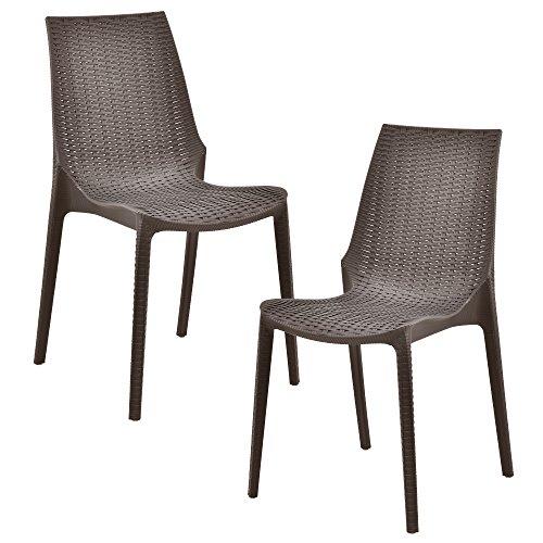 [casa.pro] Set de 2 sillas con Apariencia de ratán (plástico) Sillas de jardín Resistentes a la Intemperie (marrón)%0a