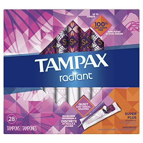 Tampax Radiant Plastic Tampons, Regular Absorbency, Unscented, 32 Count by Tampax - Tampax Radiant Tampons