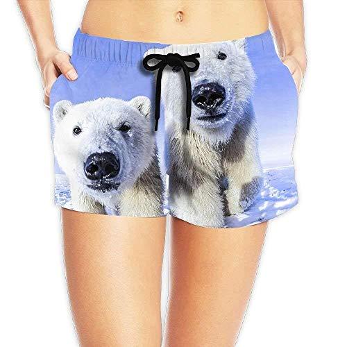 Women's Elastic Waist Casual Beach Shorts Drawstring Snow Polar Bear Shorts Swim Trunks Large Polar Shorts