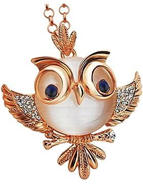 Le Premium® Niedlich Keine Eule Anhänger Halskette Saphir Blau Auge Rose vergoldet