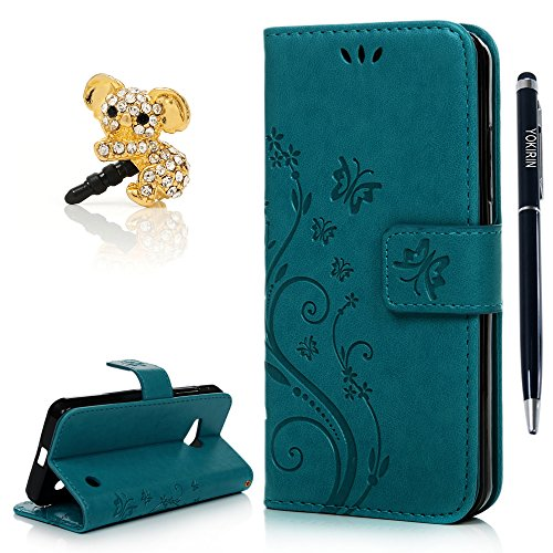 Price comparison product image Nokia Lumia 550 Case, YOKIRIN Premium Soft PU Leather Notebook Wallet Cover Case with [Kickstand] Credit Card ID Slot Holder Magnetic Closure Butterfly Vintage Flower Design Folio Flip Protective Slim Skin Cover for Microsoft Nokia Lumia N550(& Stylus Touch Screen Pen & Dust Plug),Blue