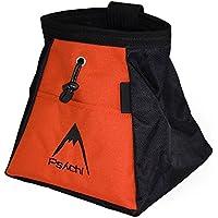 psychi–bulder Cubo Bolsa para almacenamiento de escalada en roca con cremallera delantera y trasera, naranja