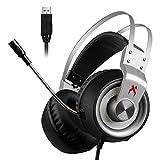 USB Gaming Headset, XIBERIA K1 Stereo Sound PC Kopfhörer, Über-Ohr Gaming Kopfhörer mit Mikrofon mit Kristallklarem Klang, Weicher Speicher-Ohrenschützer, LED-Beleuchtung & Geräuschunterdrückung Mikrofon für PC & MAC.