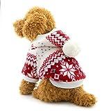 Kleiner Ranphy-Schneeflocken-Hundemantel - für kleine Hunde - Kapuzenpullover - mit Fleece gefüttert - für Katzen/Hunde/Welpen