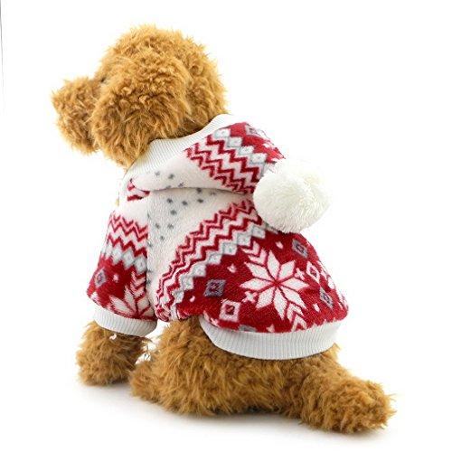 (Kleiner Ranphy-Schneeflocken-Hundemantel - für kleine Hunde - Kapuzenpullover - mit Fleece gefüttert - für Katzen/Hunde/Welpen)