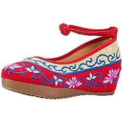 Lazutom sandalias de mujer con bordado estilo chino, cómodas, Casuales, color multicolor, talla Talla única