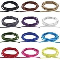 AURORIS - Weiches flaches Band aus Wildlederimitat 3mm - Länge / Farbe wählbar - Variante: 2m / schwarz