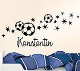 Wandtattoo-Günstig G064 Fußball Sterne + Wunschname Wandaufkleber Wandsticker Fussballfan grün (BxH) 122 x 58 cm