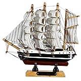 Tony Brown | Deko Schiff | 4 Master Passat | Handarbeit Holz | Segelschiff (16 x 4 x 16 cm)