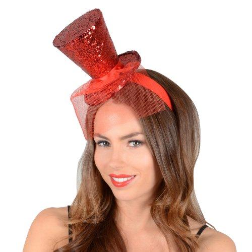 6x Weihnachts Rot Glitter Mini Top Hat ideal für Weihnachten Parteien und alle Fun