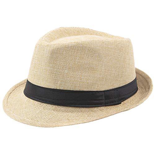 Coucoland Panama Hut Mafia Gangster Herren Fedora Trilby Bogart Hut Herren 1920s Gatsby Kostüm Accessoires (Beige) (Herren Fedora-hut Beige)