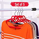 TiedRibbons® Set of 5 Space Saving Luxury Velvet Hanger for Girls Dress | Hanger for Trousers | Hanger for Jeans with Notched Shoulders, 5 Piece Set (24 cm X 40 cm, Set of 5, Red)