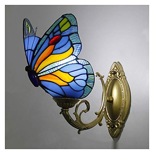 Lámpara de pared estilo Tiffany, lámpara de pared de mariposa artesanal retro vidriera pastoral europea...