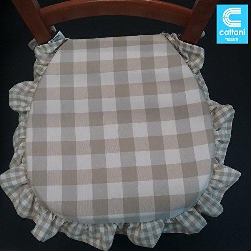 stuhlkissen 4er set - Stoff schwere Baumwolle - mit Volant - mit Bändern - mit Reißverschluss - farbe beige Größe cm 38 x 38 + Volant - Dicke Kissen 4 cm