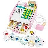 Nuheby Cash Register Toy Till Kids Wooden Toys Money Play Till Calculator Gift