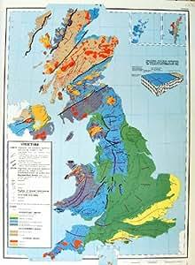 La Géologie 1963 de Carte Grande-Bretagne Bascule Igné Sédimentaire