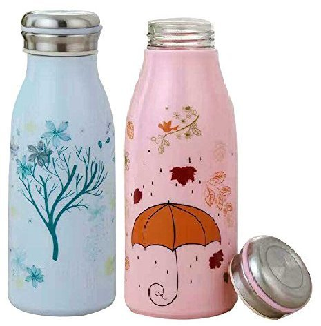 High Quality Flower Tree Printed Blue & Pink Designer Bottle With Air tight cap for Water, Milk, and Juice– 300ml (Set of 2)