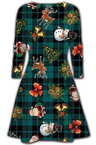 Damen Weihnachten Swing Kleider Damen Weihnachten Aufdruck Schneemann Santa Rentier Kleid Geschenk Baum Weihnachtsmann Grün Tartan