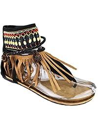 Mevina Damen Sandalen Riemchen Fransen Hippie geflochten Ibiza Style Riemchensandalen Knöchel