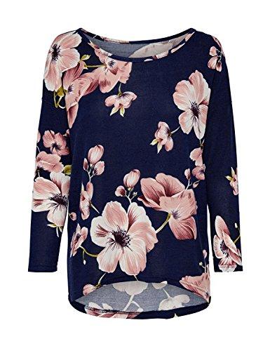 Blooming Jelly Damen Top Blumenprint Kirschblüten Lose Lässig Lange Ärmel Hi Low Lockeres T-Shirt Bluse Oberteil Passen Sie Ihr Eigenes T-shirt