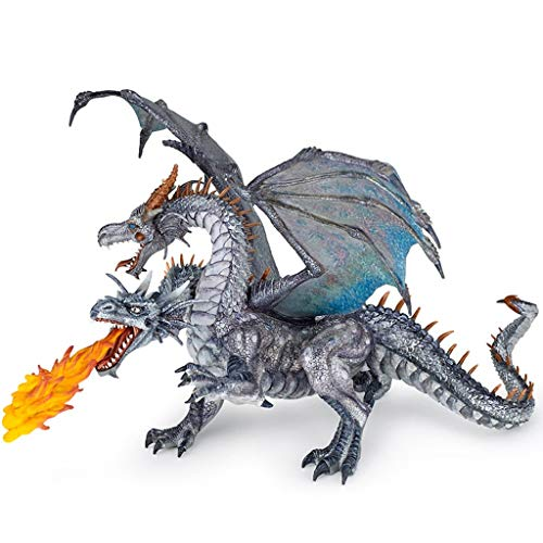 Rfeifei Simulation Tiermodell, Jurassic World Dinosaurier Statue Magische Mythologie Doppelköpfige Silber Drachen Spielzeug Sammlung/Modell/Geschenk