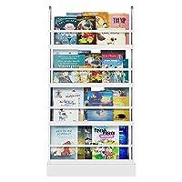 Homfa Kids Bookshelf Children Bookcase White Wooden Book Display Stand Organizer 58x12x110cm