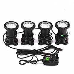 Spot Light 36 LED Underwater Spot Light IP68 waterproof Aquarium Pond Fish Tank Lighting with UK plug 3 Colors Changing (Set of 4 lights)