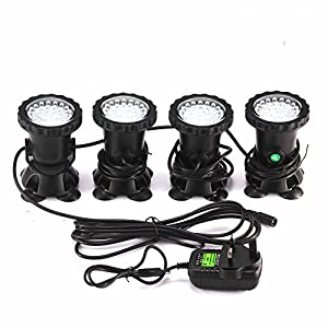 ALLOMN Spot Light 36 LED Underwater Spot Light IP68 waterproof Aquarium Pond Fish Tank Lighting with UK Plug 3 Colors…