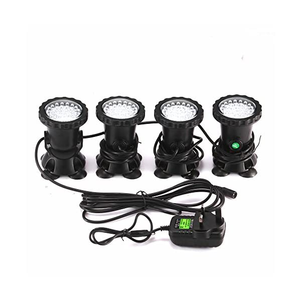 ALLOMN Spot Light 36 LED Underwater Spot Light IP68 waterproof Aquarium Pond Fish Tank Lighting with UK Plug 3 Colors Changing (Set of 4 lights) (Style-A)