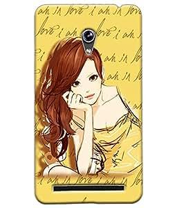 Fuson Love Girl Back Case Cover for ASUS ZENFONE 6 - D3669