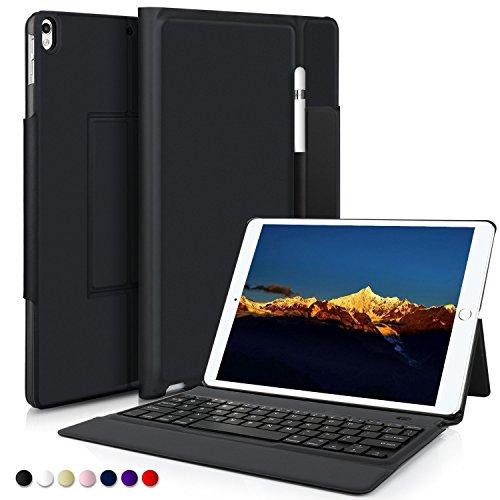 IVSO iPad Pro 10.5 QWERTZ Tastatur, Wireless Bluetooth Tastatur Schutzhülle mit Standfunction Für Apple iPad Pro 10.5 Tablet, Schwarz (Ipad Und Das Wireless Keyboard Case)
