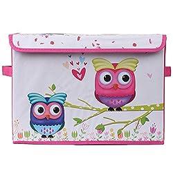 UberLyfe Kids Toy Storage Box with Pink and Blue Owls - Medium (KSB-001081-PKOWL1PC)