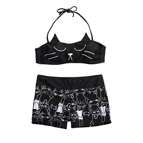 Hansee Frauen Mädchen Strappy Kitty Druck Bikini Shorts Set gepolsterte Bade Badeanzug Bademode (L)
