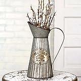 ctw 770006Vintage inspiriert Deko Krug hoch mit Henkel für künstliche Getrocknete Blumen oder Küchenutensilien, konisch verzinktem Metall, rustikal Farmhouse Style Home Decor, grau und braun
