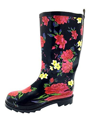 Dora Schwarze Stiefel Kind (Gummistiefel/Schneestiefel für Damen, mit Punkten, Vogel, Leopard, Pferd oder Blumenmuster, Größe 47-42, Schwarz - Black Floral Print - Größe: 39)